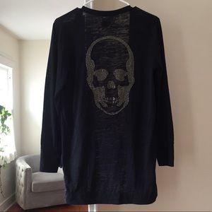 E.vil skull cardigan, black, M, cotton